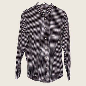 Frank and Oak Pink Blue Gingham Button Down Shirt